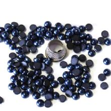 Preciosa Flat Back Navy Blue Pearl Cabochons in 2 sizes